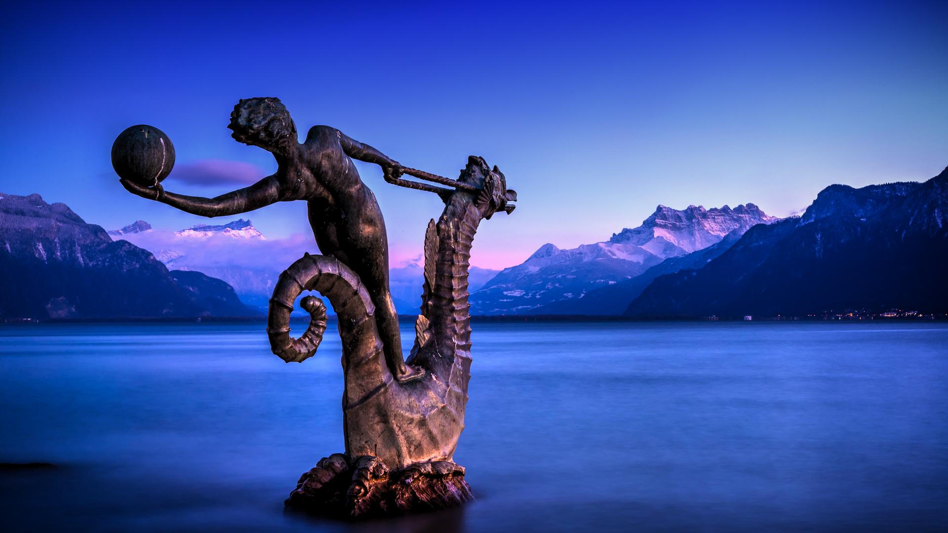 Sea nymph riding seahorse, Switzerland