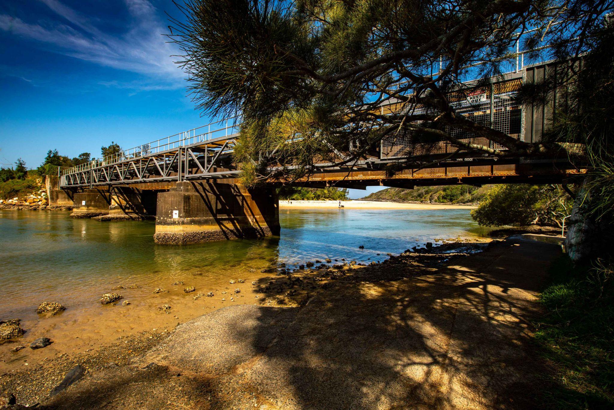 Boambee Creek, Railway Bridge, Boambee, NSW, Australia