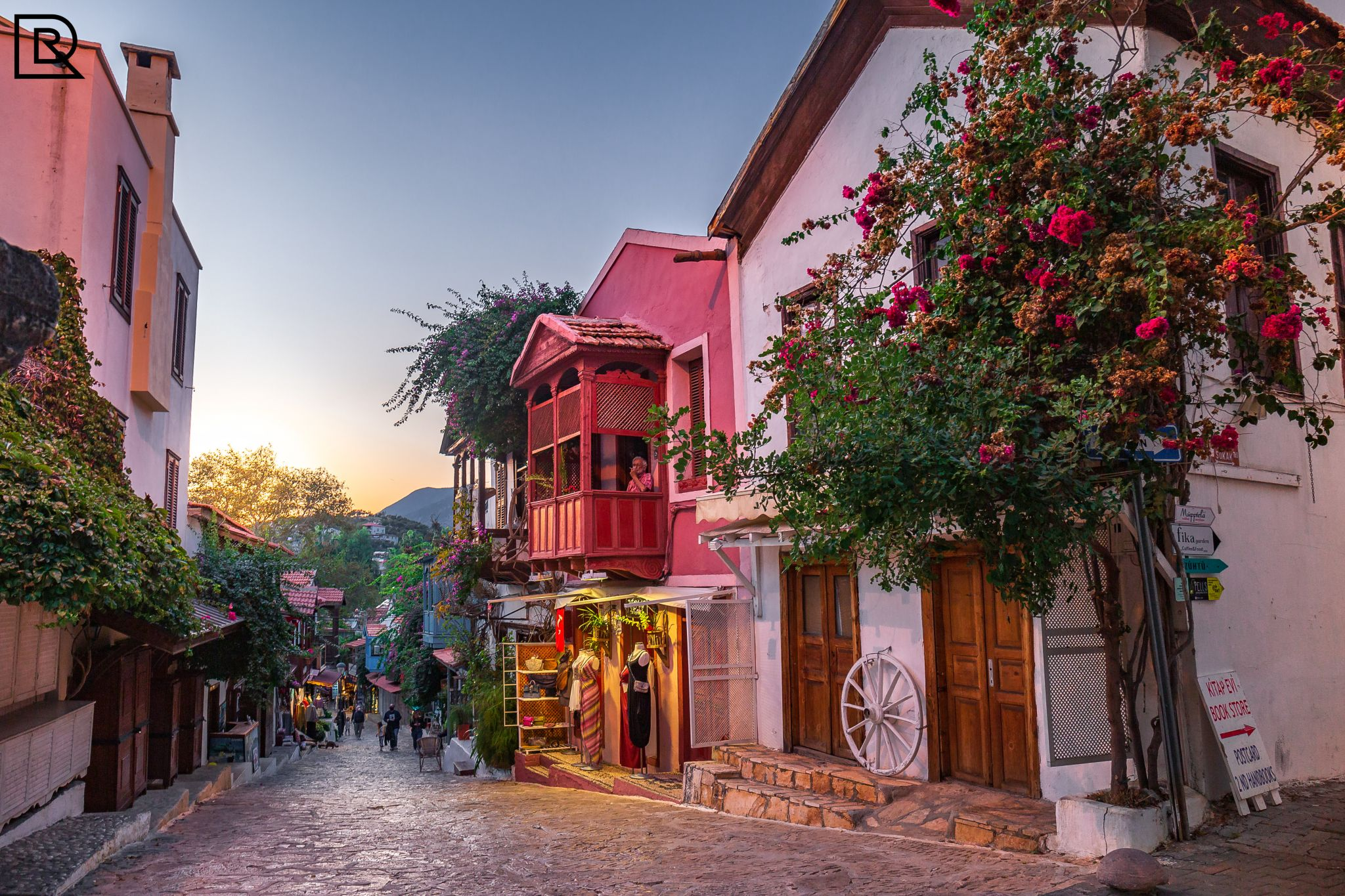 Kas shopping street with typical buildings, Turkey