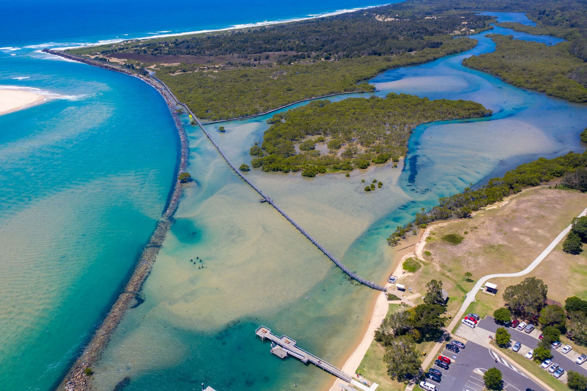 Drone view of the boardwalk at Urunga, New South Wales, Australia