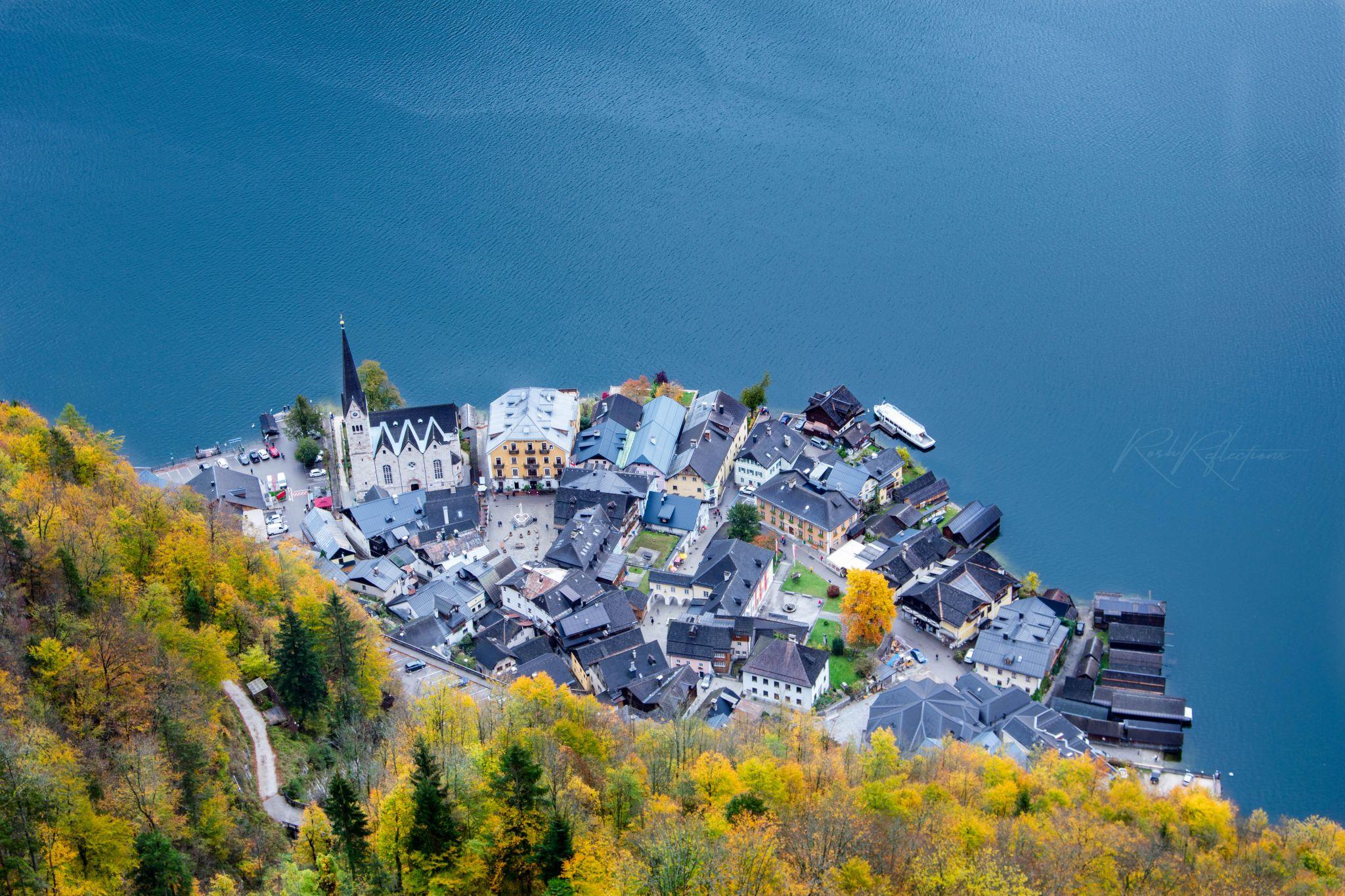 Hallstatt village from skywalk view point, Austria