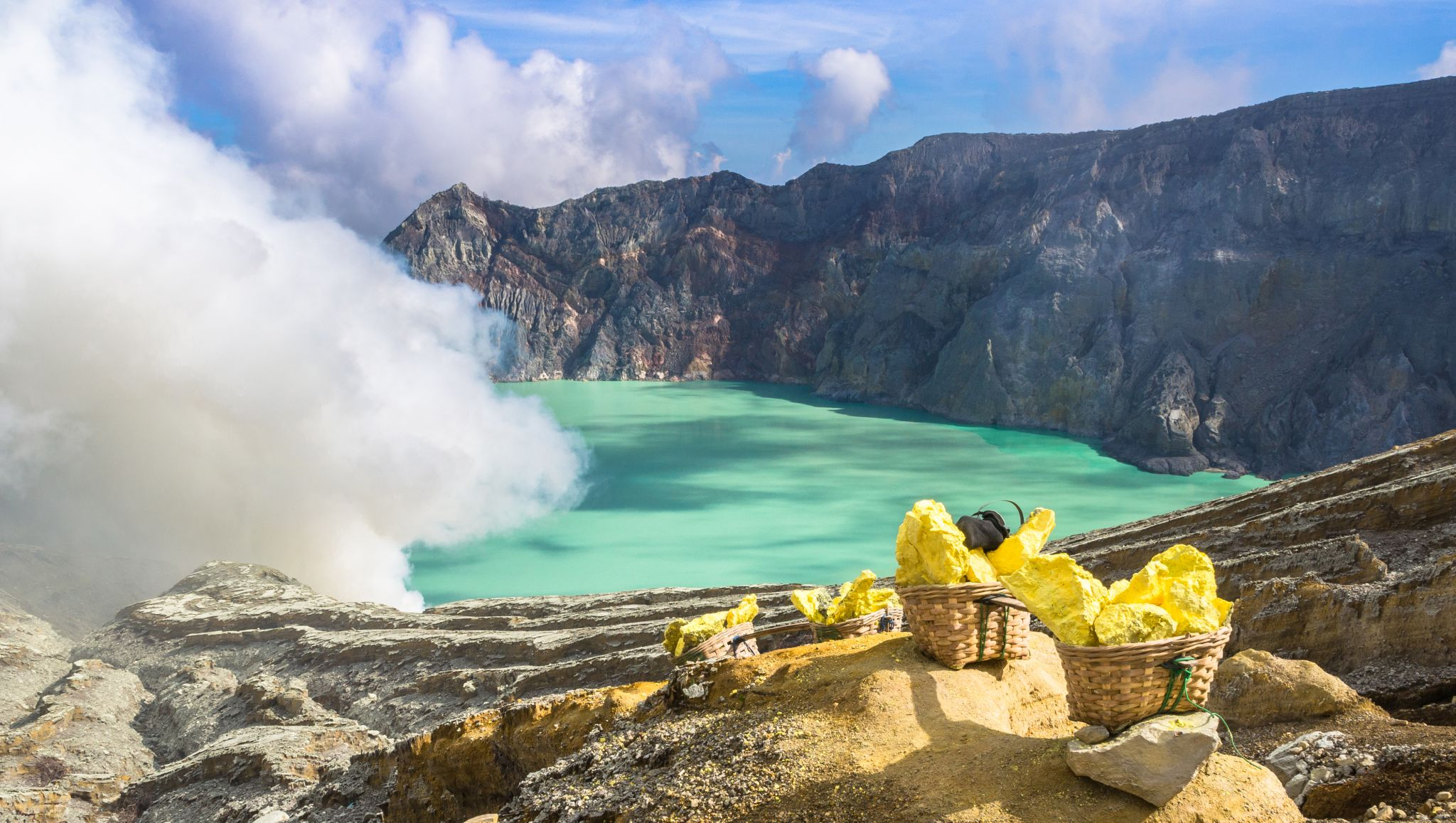 On the crater rim of Mount Ijen, Indonesia