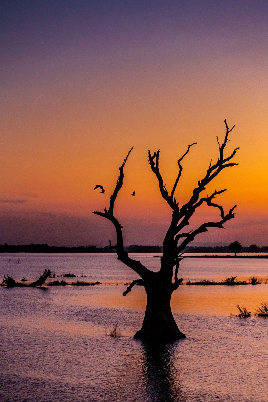 Abend am Lake Taungthaman, Myanmar