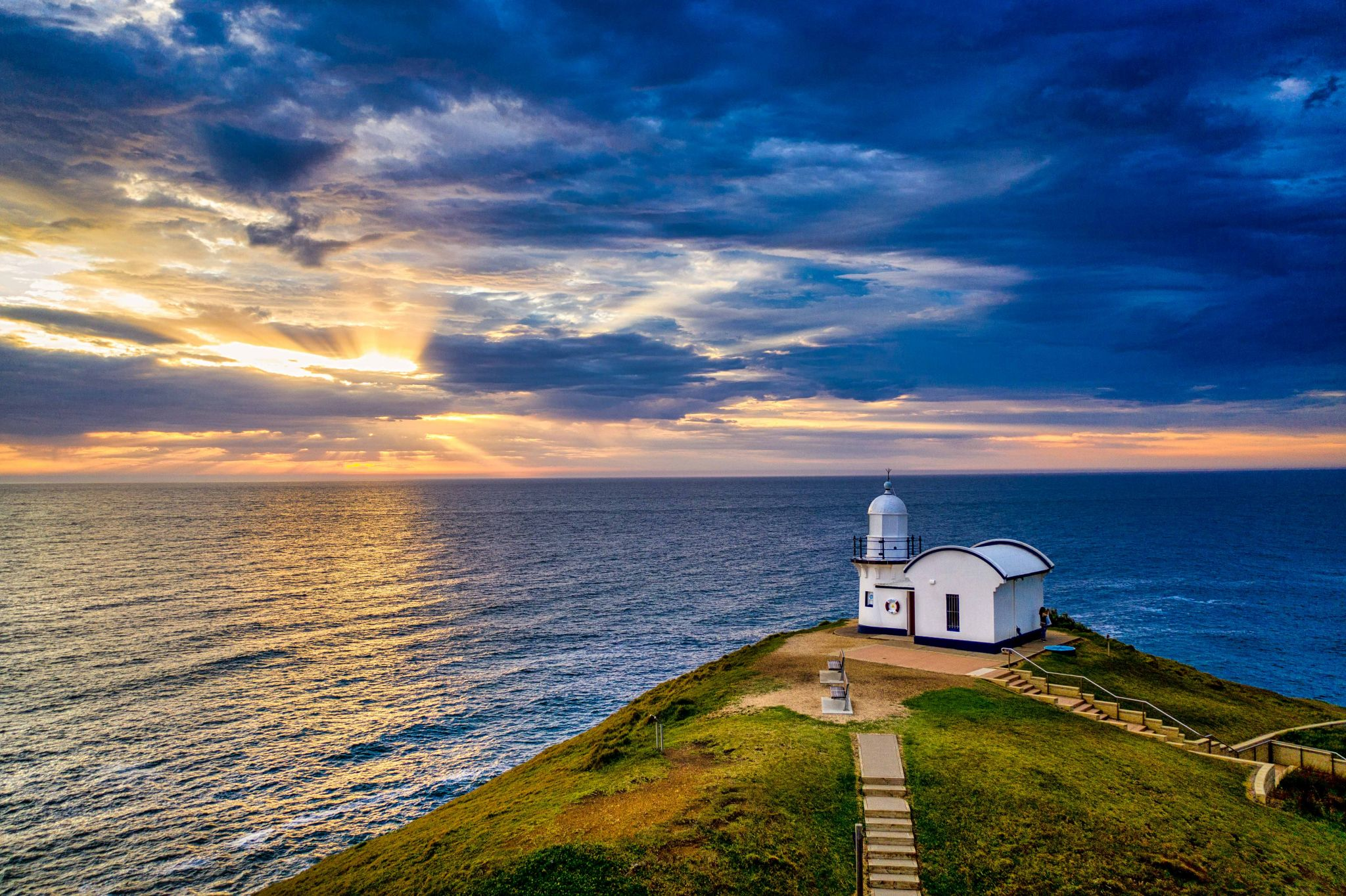 Drone sunrise Taking Point Lighthouse Port Macquarie NSW, Australia