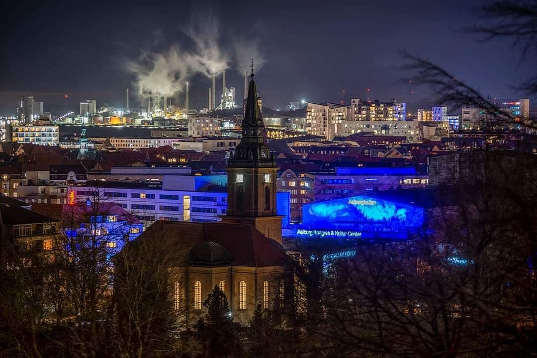 Aalborg city by night, Denmark