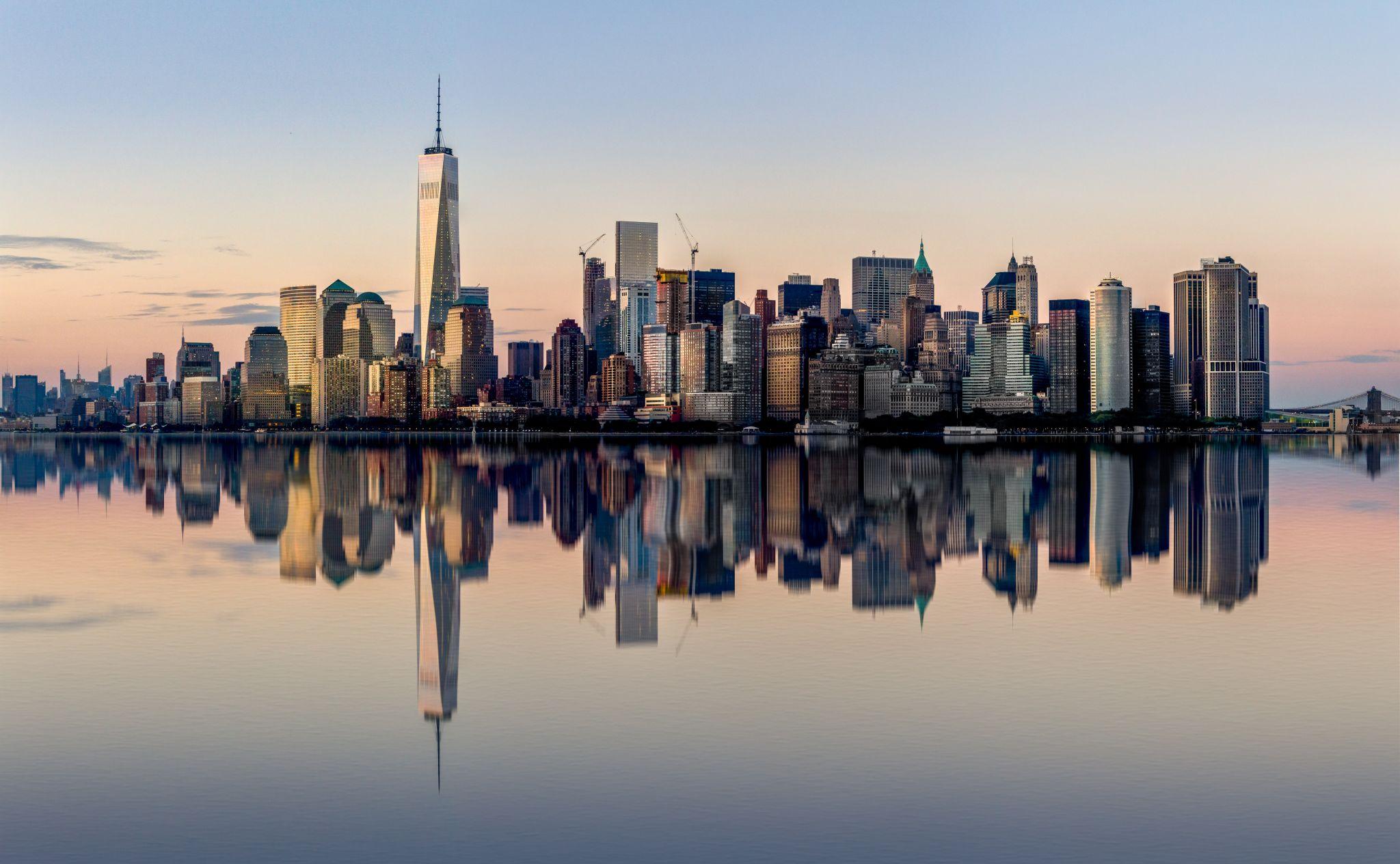 Manhattan skyline from Staten Island Ferry, USA