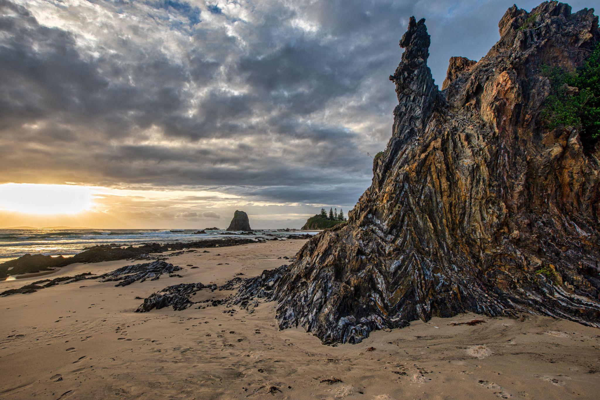 Patterned Rock Sunrise Glasshouse Rocks Narooma, Australia