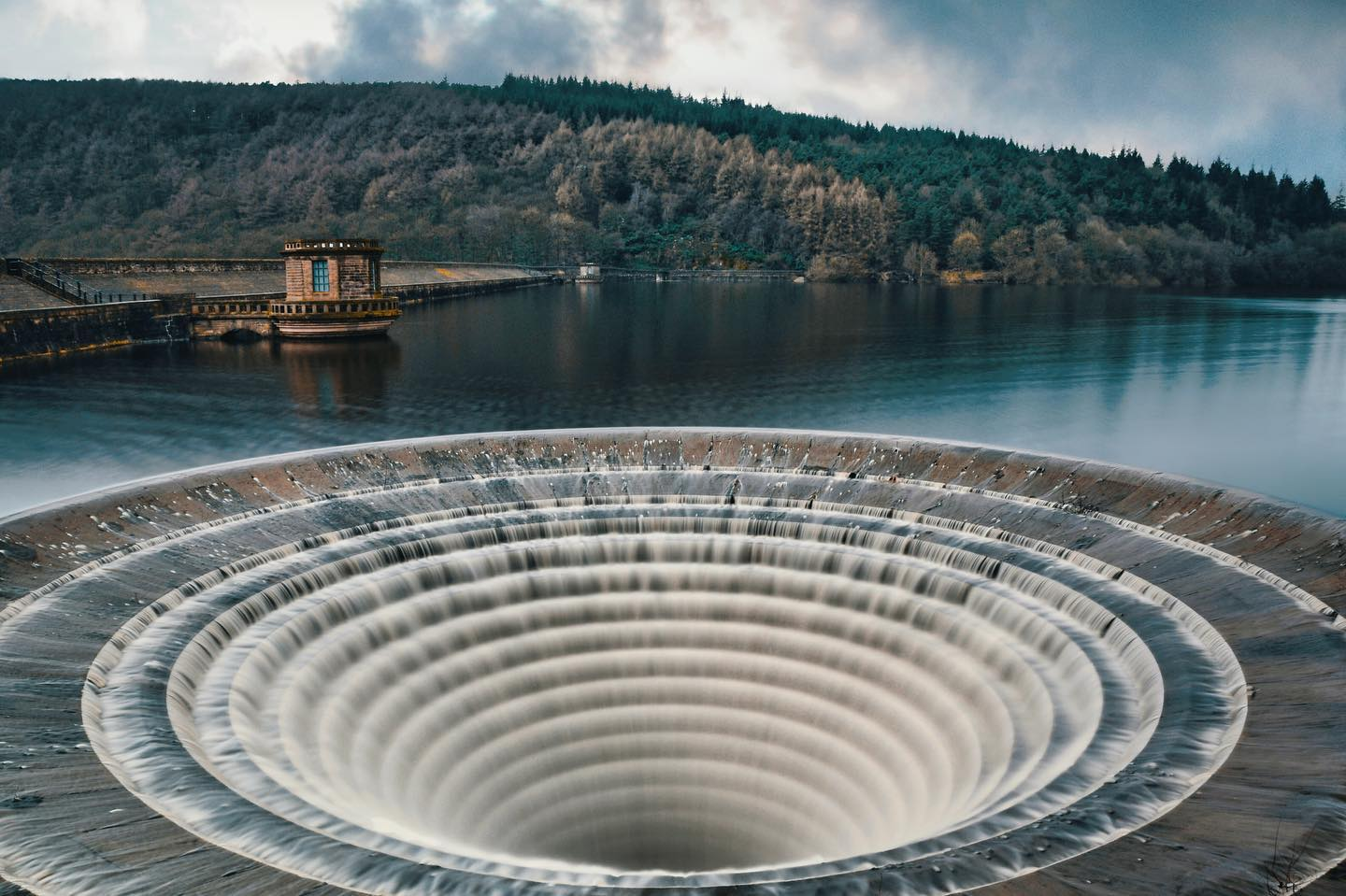 Plughole at Ladybower Reservoir, Peak District, United Kingdom