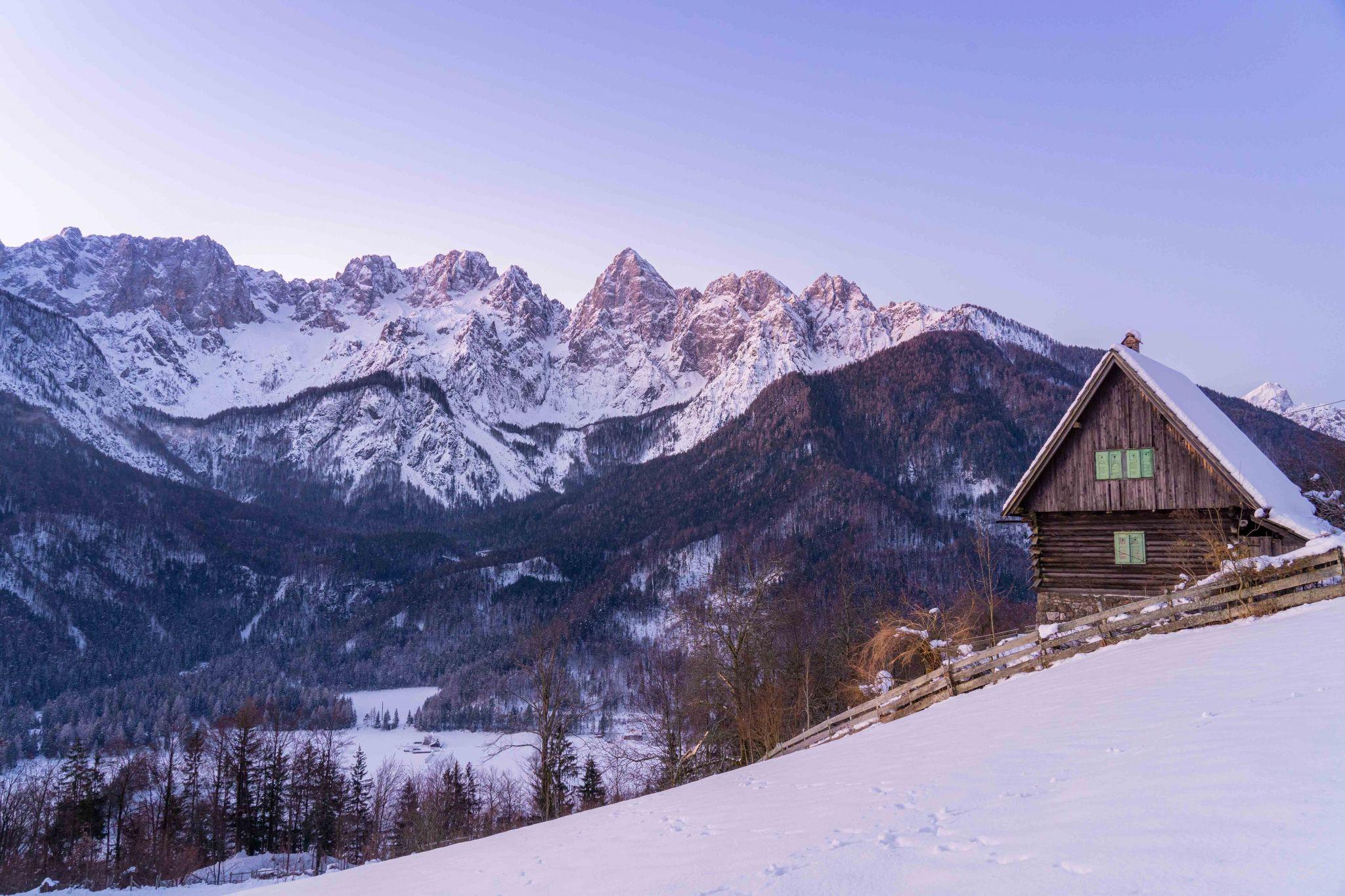 Špik mountain range from Srednji Vrh, Slovenia