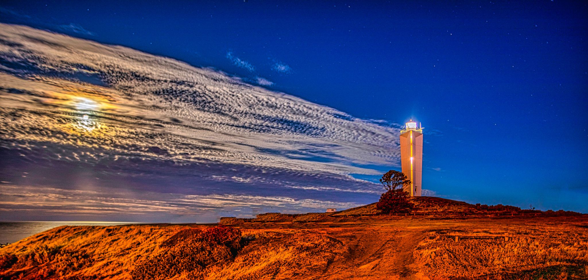 Cape Jervis Lighthouse Moon set South Australia, Australia