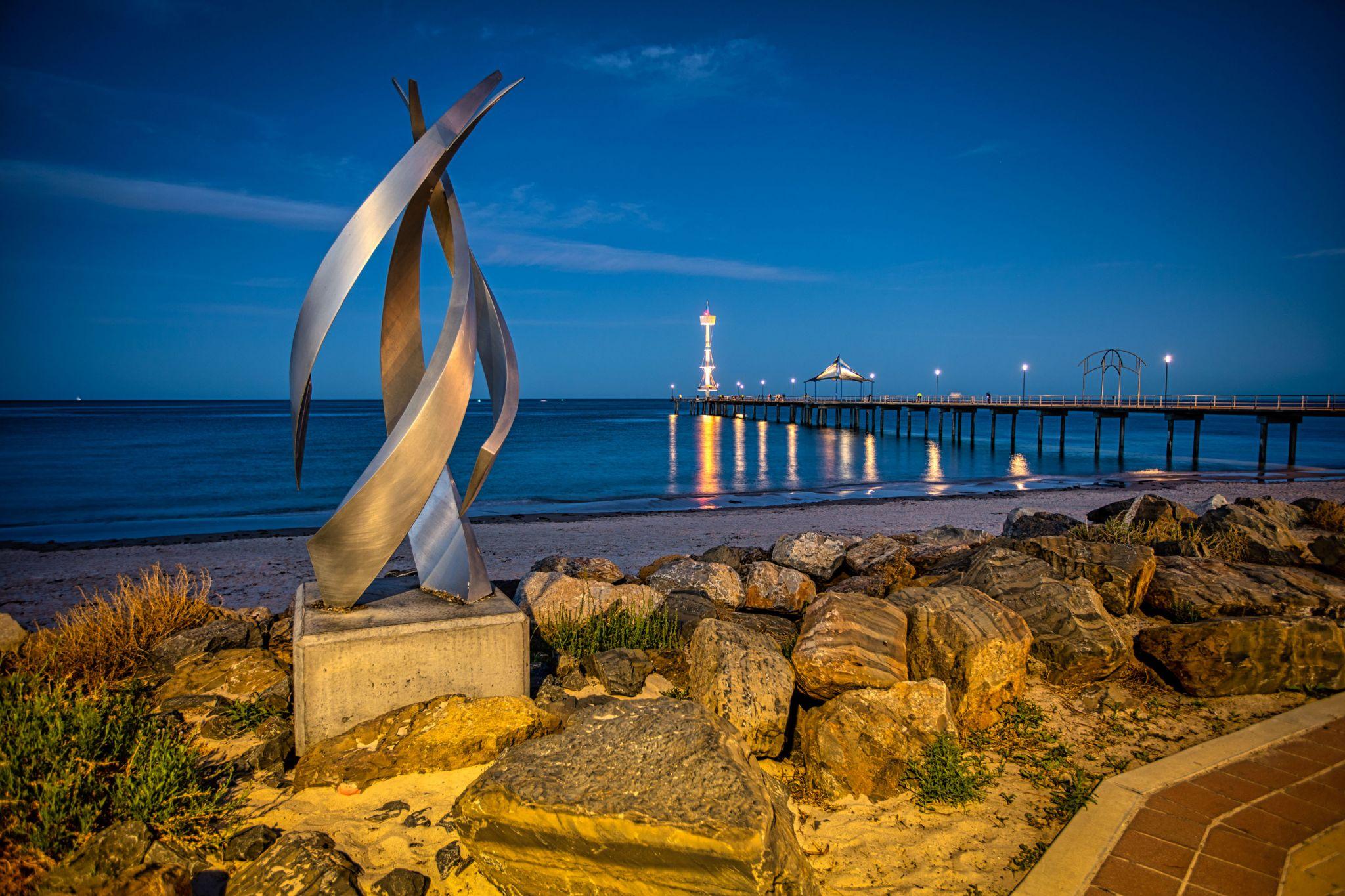 Brighton Pier, blue hour & Sculpture, Adelaide, SA, Australia
