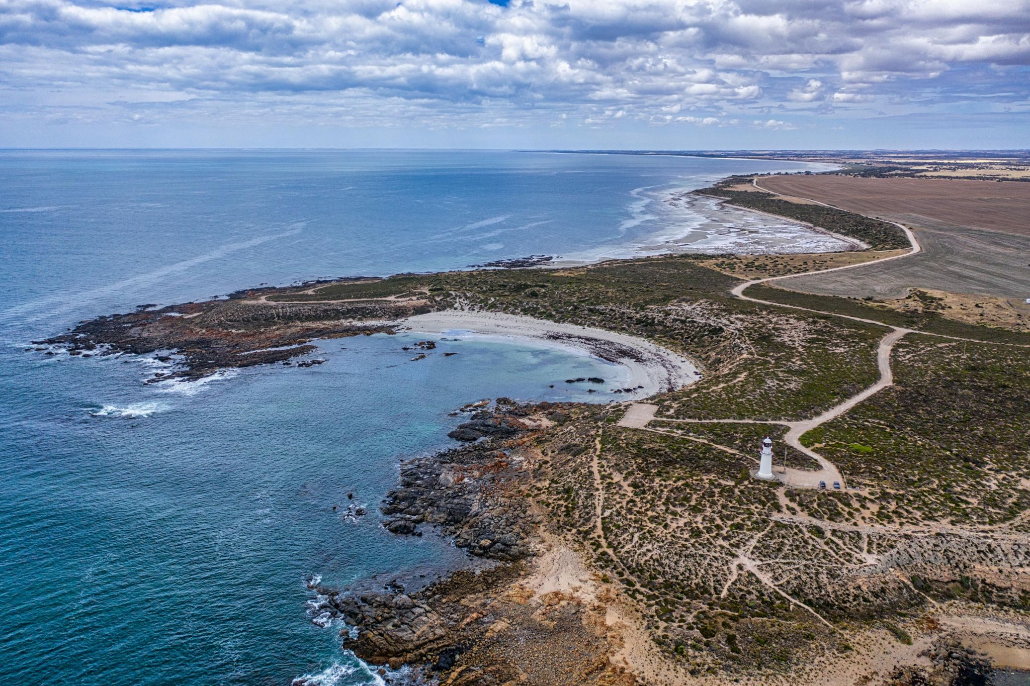 Corny Point Lighthouse drone, Yorke Peninsula SA, Australia