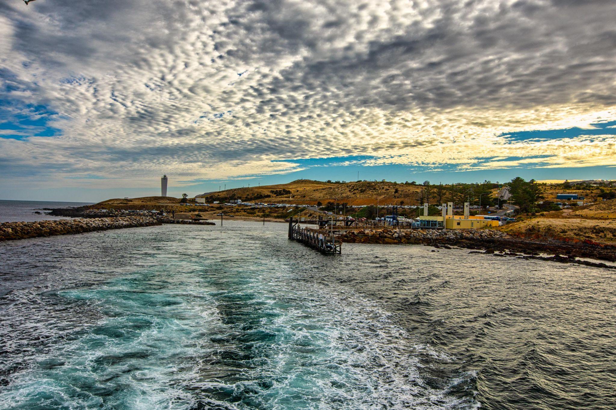 Ferry leaving Cape Jervis for Kangaroo Island, SA, Australia