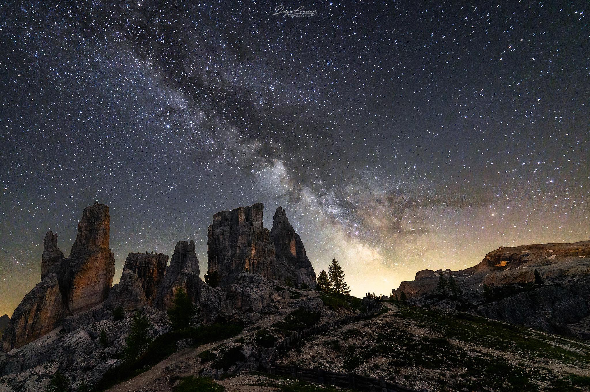 Milky Way over the Cinque Torri, Italy