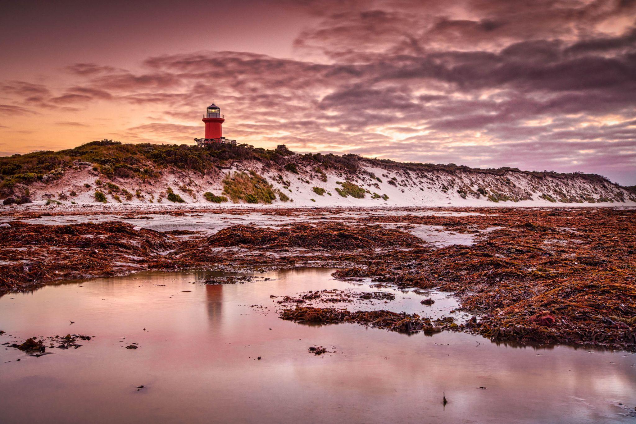 Cape Banks Lighthouse reflection ,South Australia, Australia