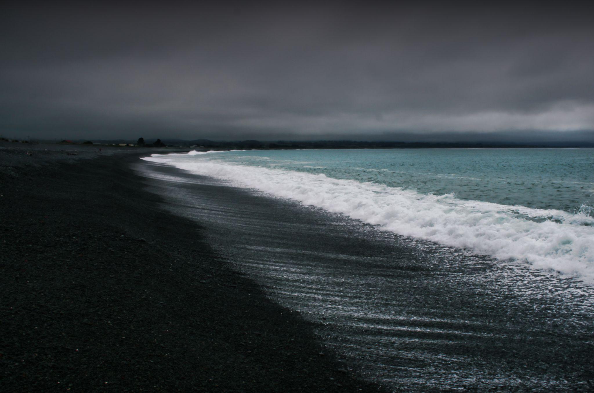 Black beach of Kaikoura, New Zealand