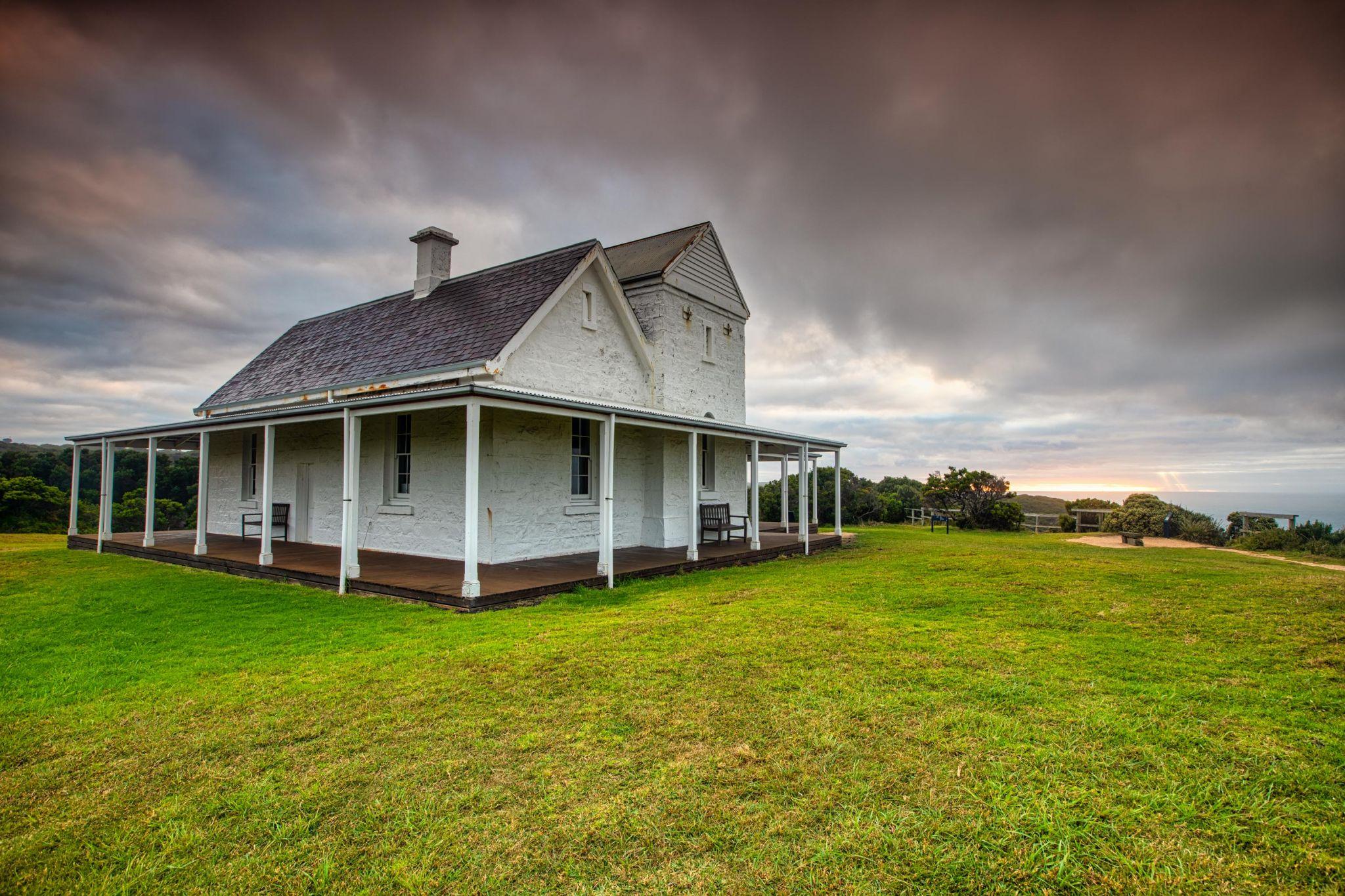 Cape Otway Lightstation museum sunrise, Victoria, Australia