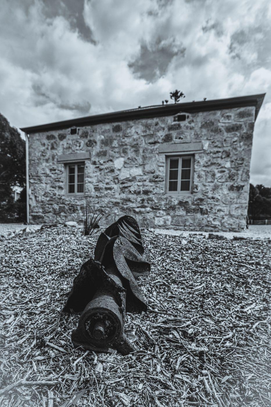 Drilling equipment and cottage Inneston, South Australia, Australia
