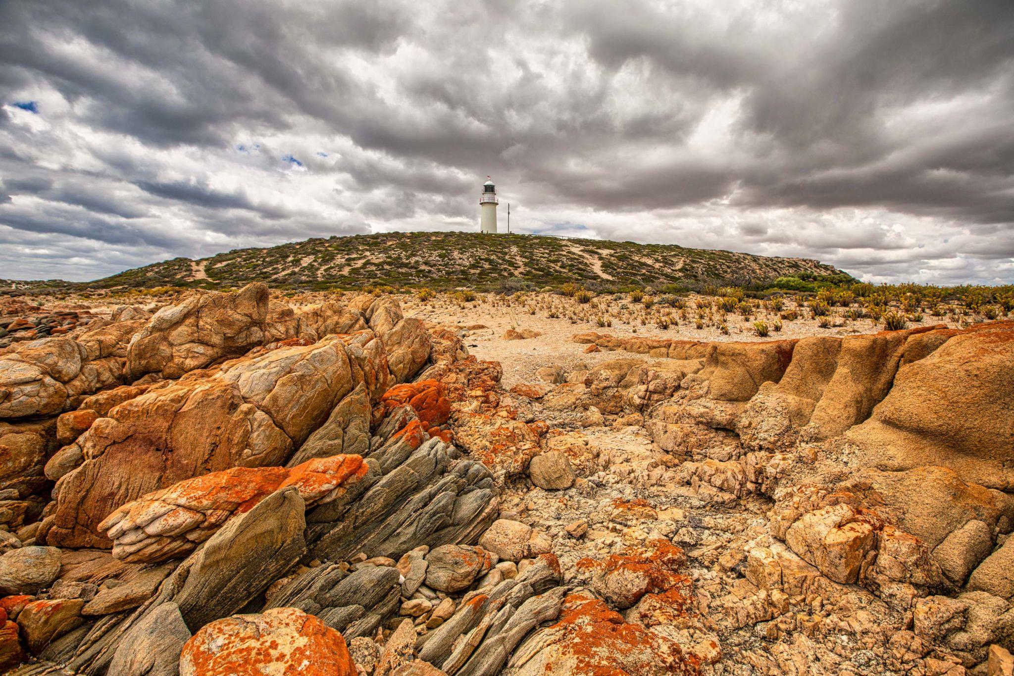 Red rocks Corny Point Lighthouse, Yorke Penisula, SA, Australia