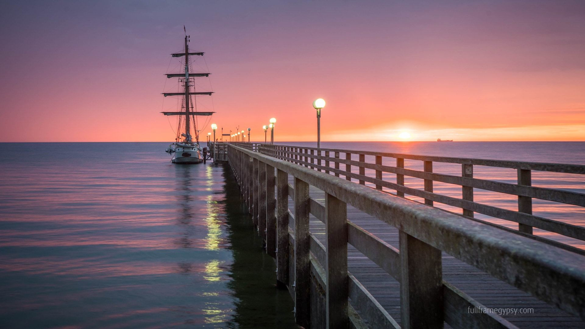Pier and sea at sunset in Binz, Germany