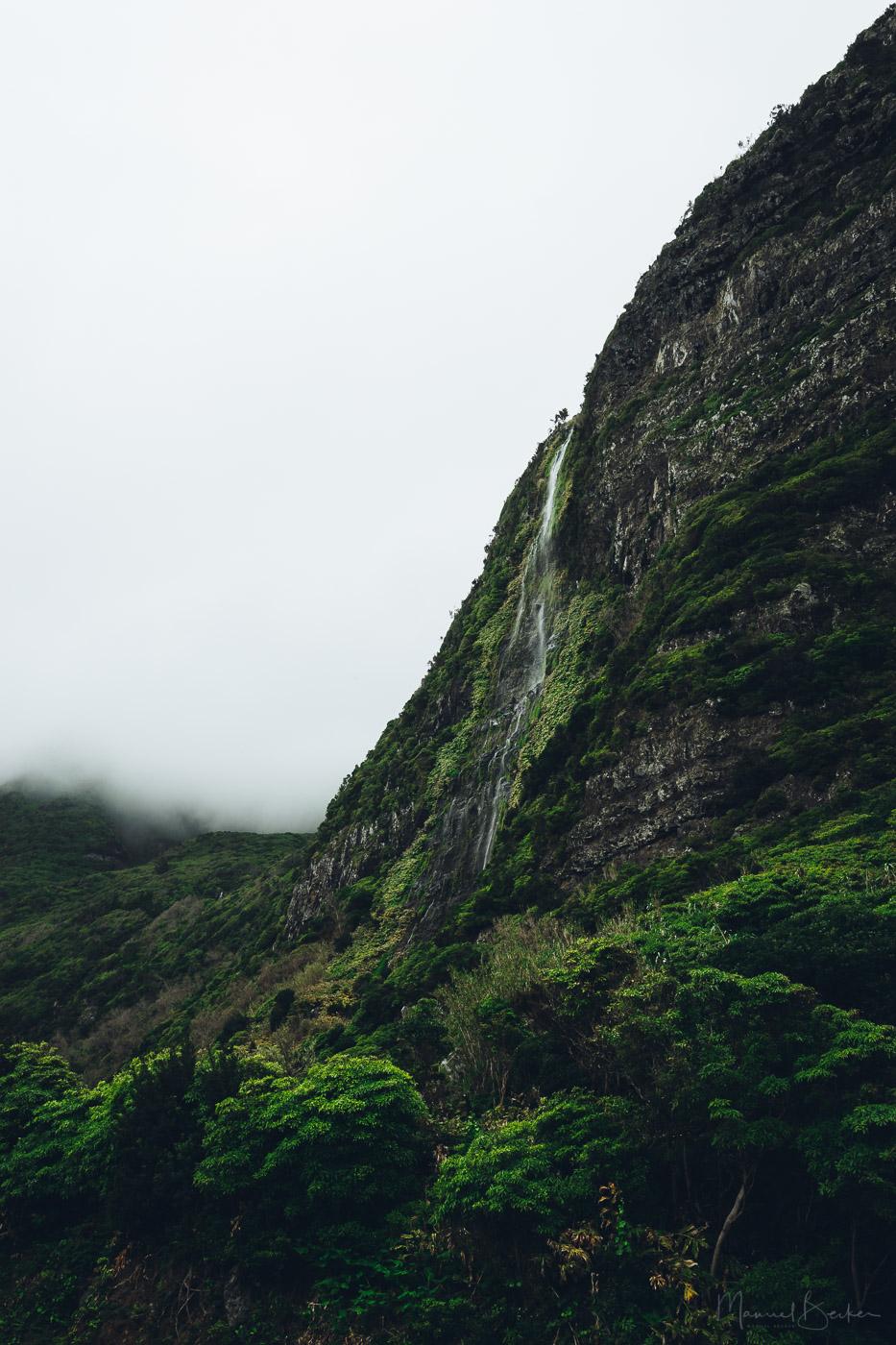 Mountain Waterfall near Faja Grande, Flores, Azores, Portugal