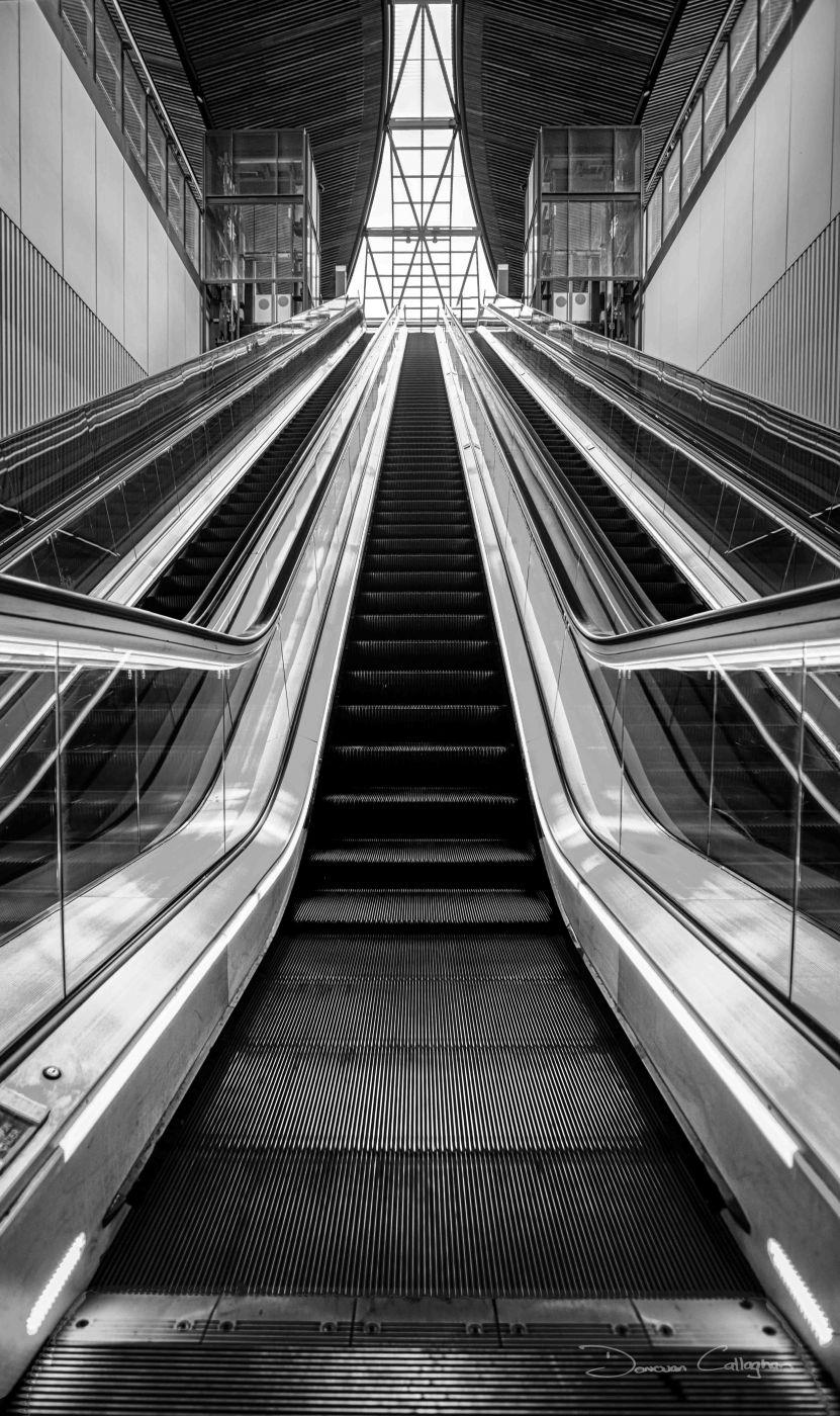 Castle Hill Escalators at the train station. Sydney, Australia