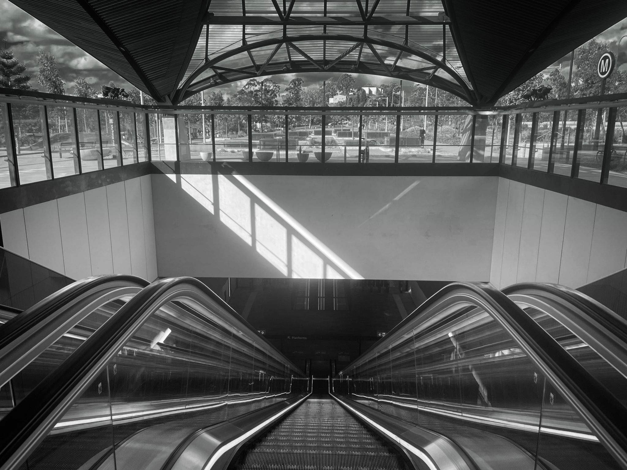 Down the Escalator Train station, Castle Hill, Sydney, Australia