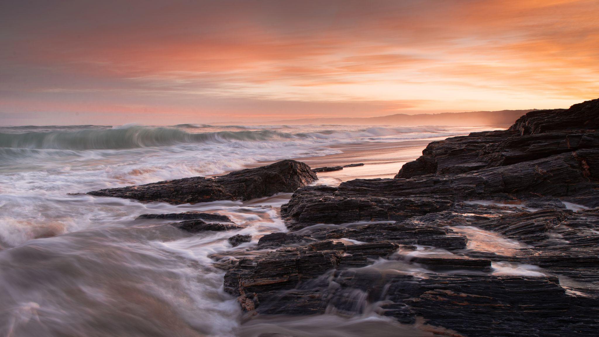 Rocky Sunset from Brighton Beach, New Zealand