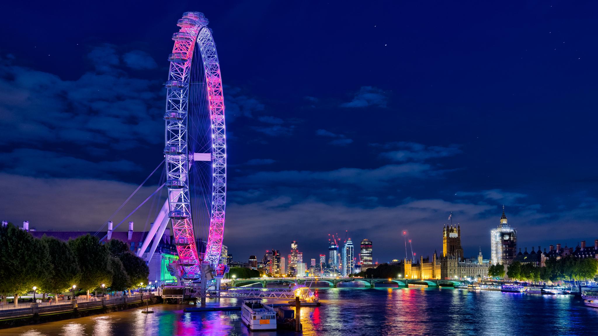 London Eye from Golden Jubilee Bridges, United Kingdom