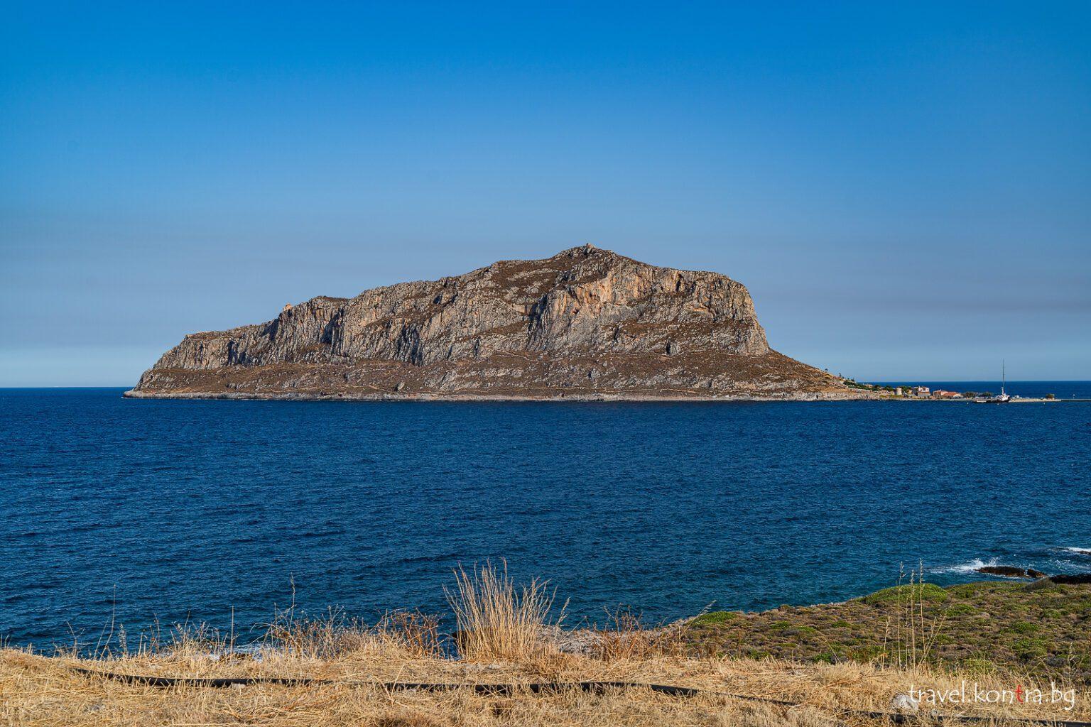 Monemvasia island from a parking spot near Gefira, Greece