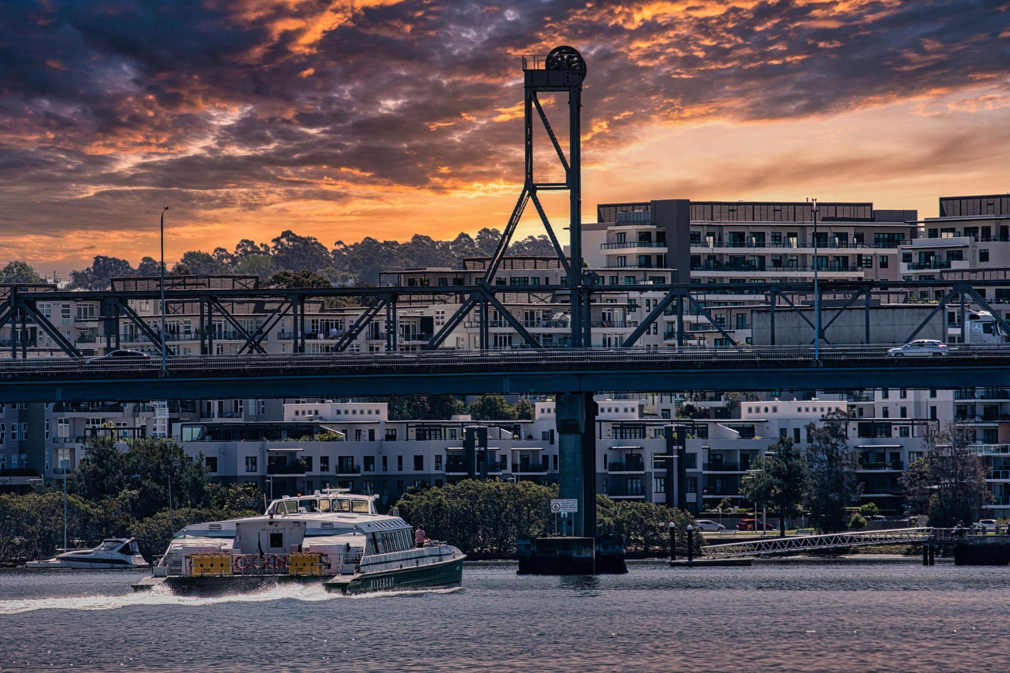 Rivercat Ryde Bridge sunset, Sydney, NSW, Australia